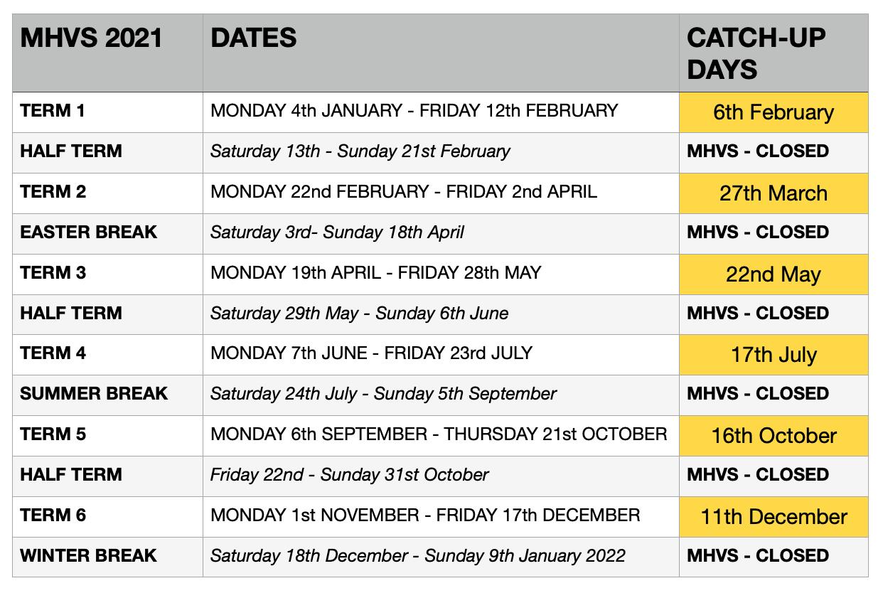 Term Dates 2021